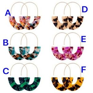 BaubleBar Style Geometric Acrylic Hoop Earrings